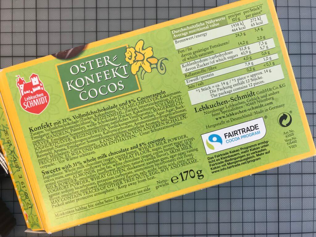 Lebkuchen Schmidt – Osterkonfekt Cocos Rückseite