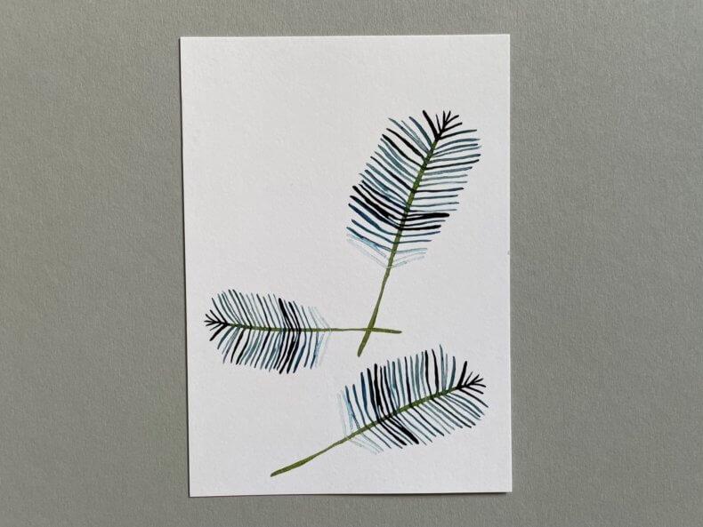 Postkarte-Palmenblätter-Vorderseite