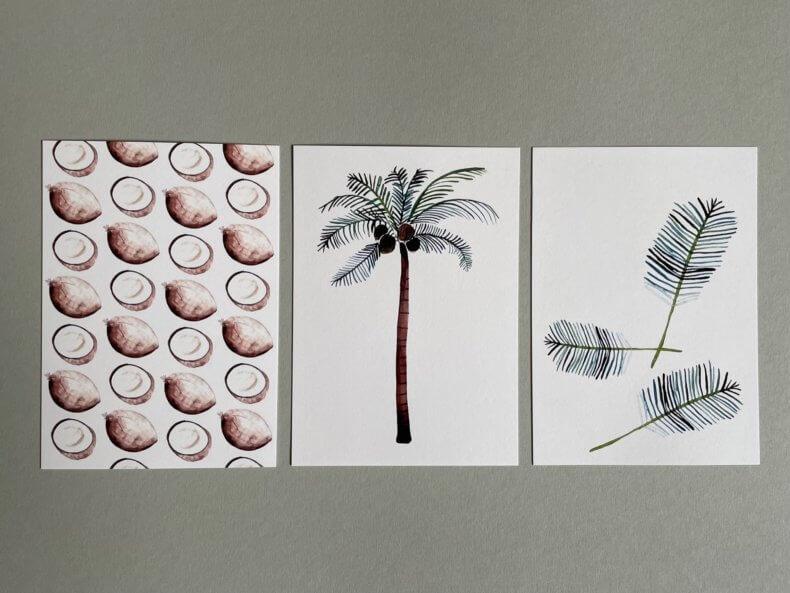 Postkarten-Set-Kokosnüsse-Palme-Palmenblätter-Vorderseite